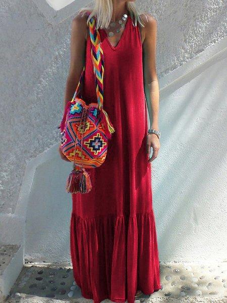 V Neck Women Summer Dresses Daily Knitted Dresses