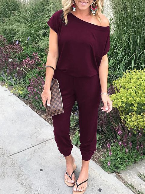Short Sleeve Long Jumpsuits Solid Rompers