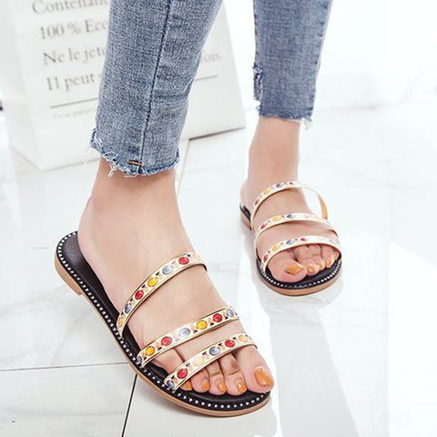 Women Casual Flat Heel Sandals Slip On Shoes