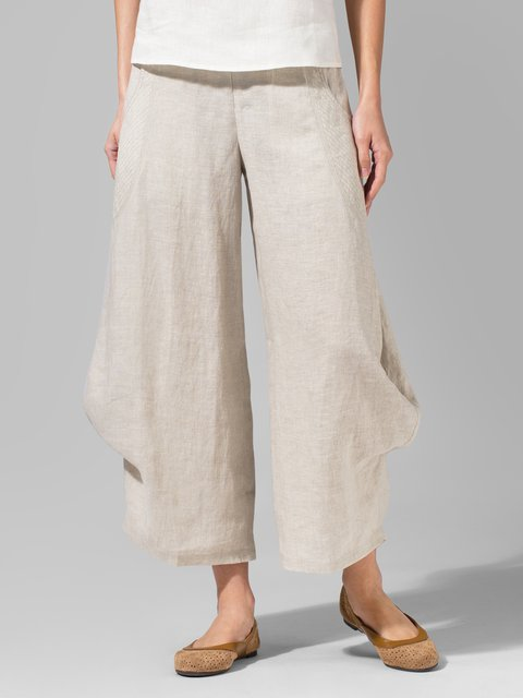 Women Flared Leg Pockets Crop Pants