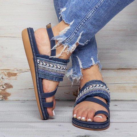 Women PU Thong Sandals Casual Elastic Band Shoes