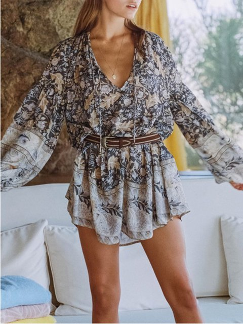Women Boho  Mini Dresses V Neck Shift Beach Floral Printed Dresses