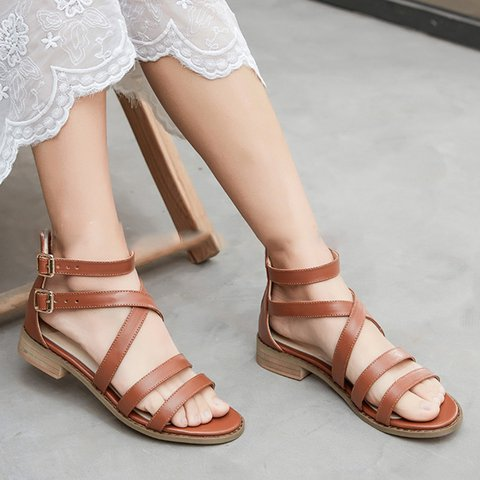 Women's Casual Blue Chunky Heel Peep Toe Sandals