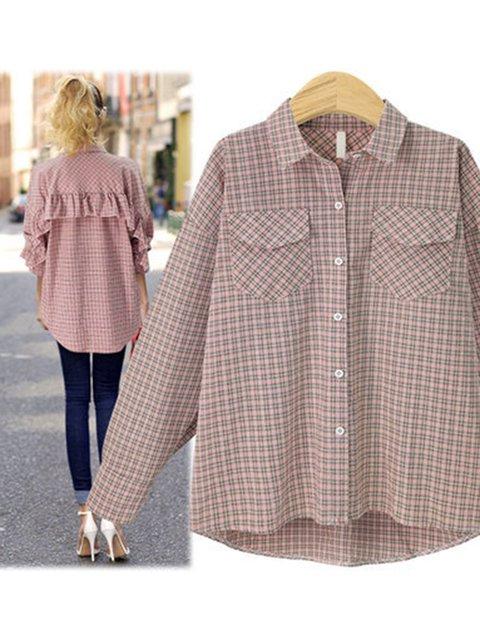 Checkered/plaid Linen Long Sleeve Shirts