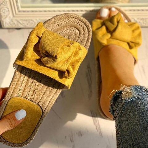 Bowknot Design Hempen Cord Flat Slippers