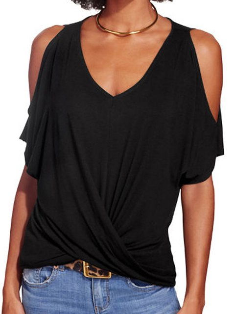 Summer Black Plain Casual V Neck Blouses