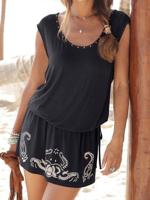 Summer Crew Neck Women Dresses Shift Beach Dresses