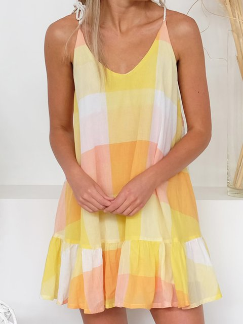 V Neck Yellow Women Summer Dresses Daily Chiffon Dresses