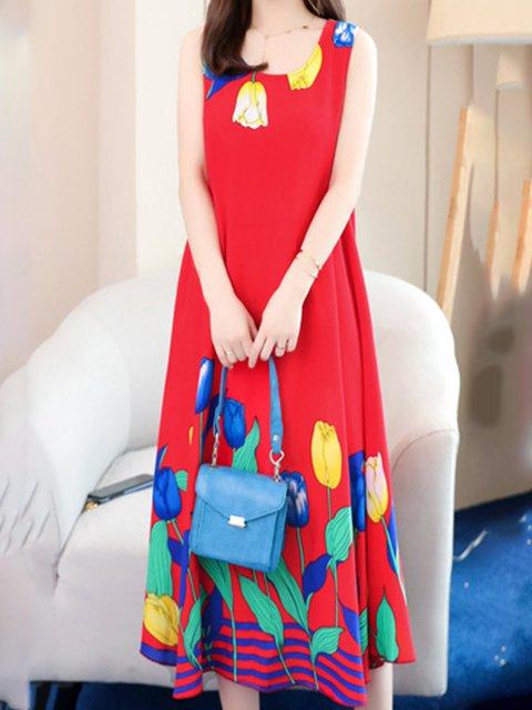 Crew Neck Women Dresses A-Line Printed Floral Dresses