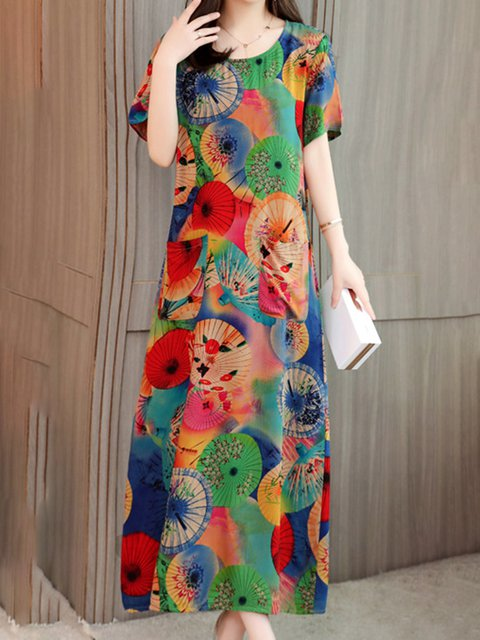 9b4a15ea7ed Justfashionnow Sundress 1 Floral Dresses Holiday Shift Crew Neck Casual Short  Sleeve Printed Dresses