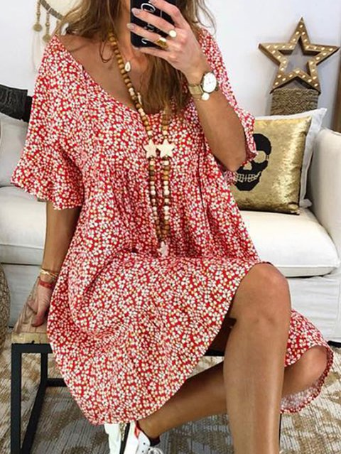 Women Floral Printed Short Sleeve Vintage Dresses