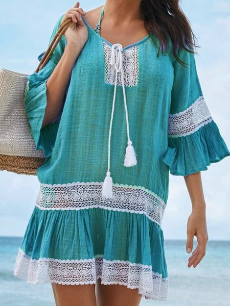 Women Summer Tassel-tie Lace Paneled Dresses