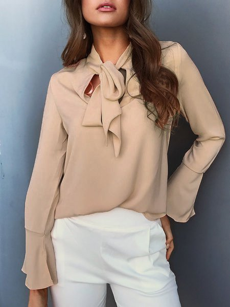 V Neck Frill Sleeve Solid Bow Blouses
