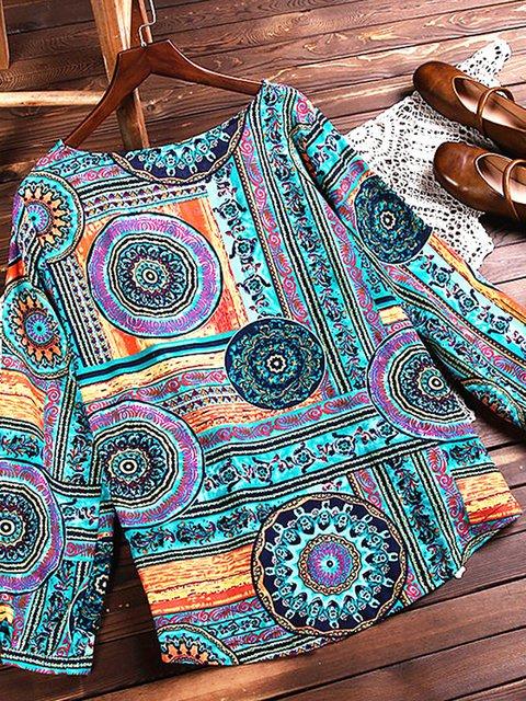 Spring Vintage Long Sleeve Tribal Printed Blouses
