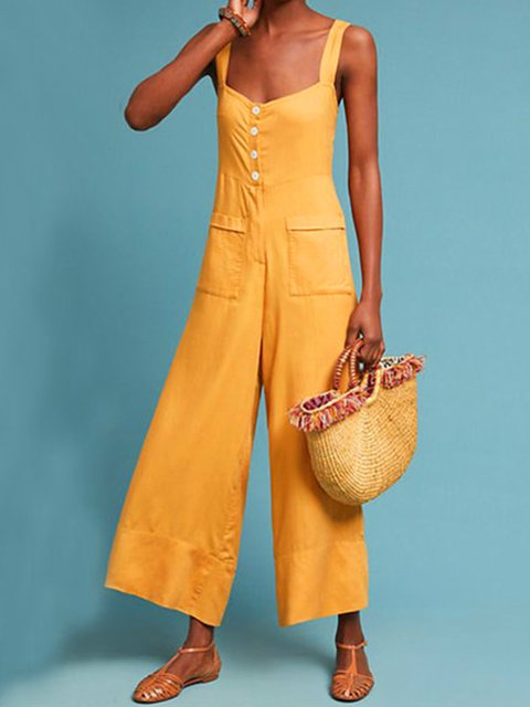 Yellow Buttoned Sweet Jumpsuits