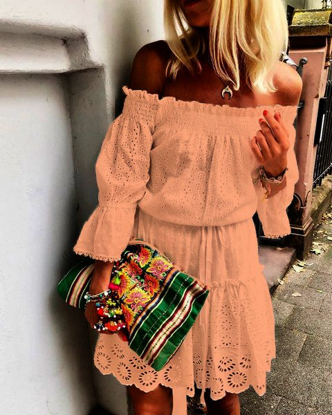 Ruffled 3/4 Sleeve Off Shoulder Dresses
