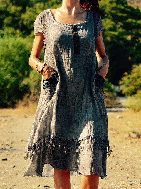 Scoop Neckline Gray Women Dresses Linen Dresses