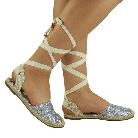 Women's Glitter Casual Lace-Up Slingback Summer Sandals