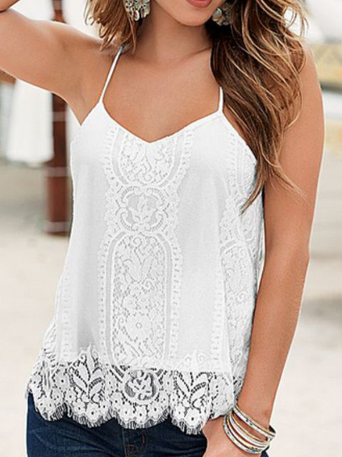 Summer Lace Paneled Scoop Neckline Sexy Camis