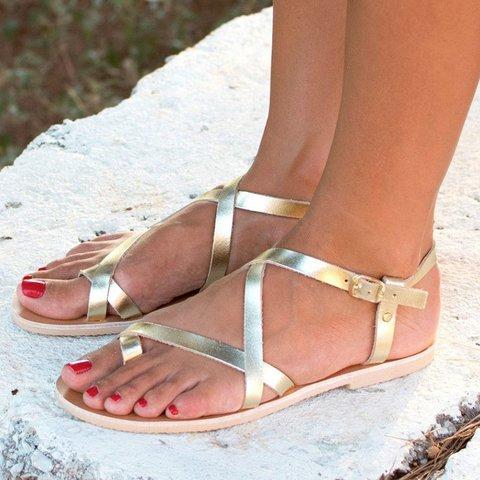 Vintage Adjustable Buckle Flats Flip-flops Sandals Plus Sizes