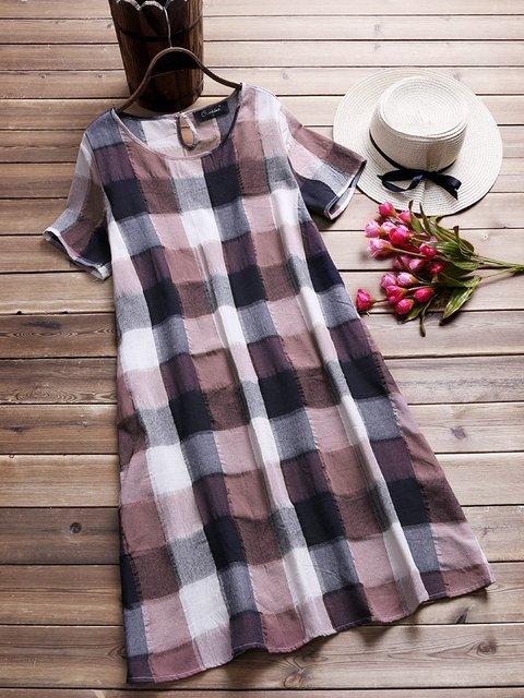 Crew Neck Women Summer Dresses Shift Daytime Cotton Checkered/plaid Dresses