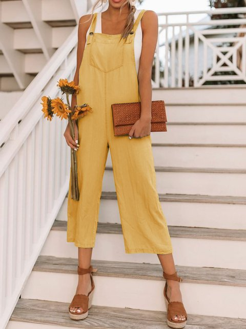 Summer Pockets Sleeveless Shift Casual Jumpsuits