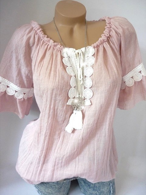 Women Casual Round Neck Lace Shirts