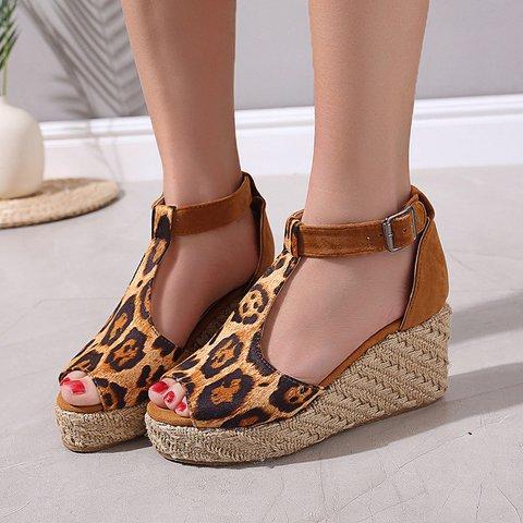 Women T-Strap Espadrilles Wedges Plus Sizes Wedge Sandals