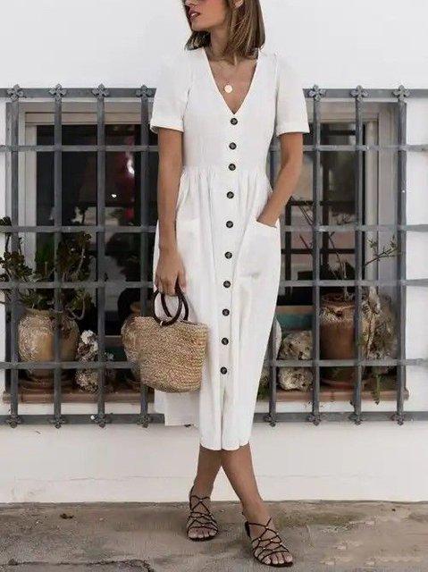 Women Summer Dresses Shift Holiday Boho Solid Dresses