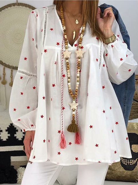 Star Printed Long Sleeve Cotton Boho Blouses