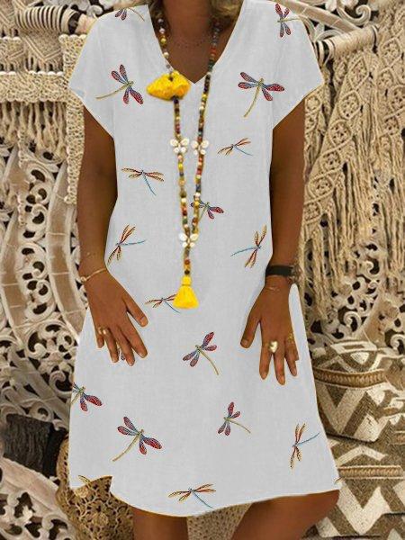 Midi V Neck Women Dresses Shift Daily Casual Dresses