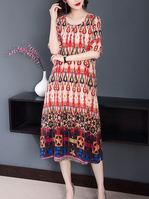 Crew Neck Shift Daily Women Casual Dresses