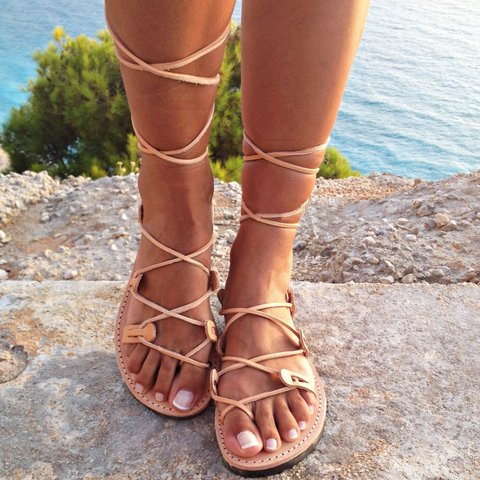 Women Lace Up Sandals Casual Peep Toe Shoes