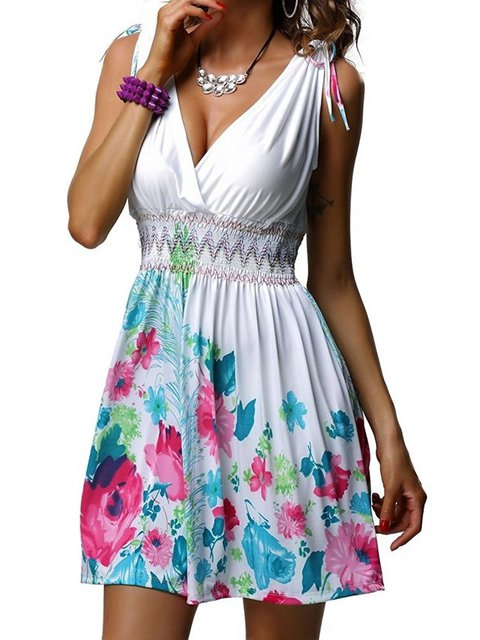Size S-5XL Summer V Neck Floral Sexy Dresses