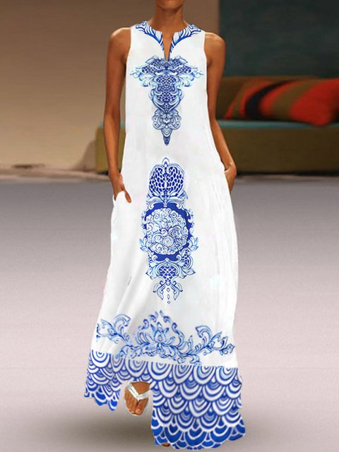 Tribal Printed Dresses V Neck Women Dresses Daily