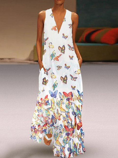 8e17197d79b6 Butterfly Printed Maxi Dresses V Neck White Women Dresses Shift Daily