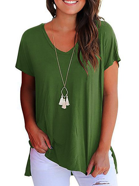 Short Sleeve V Neck Casual T-Shirt
