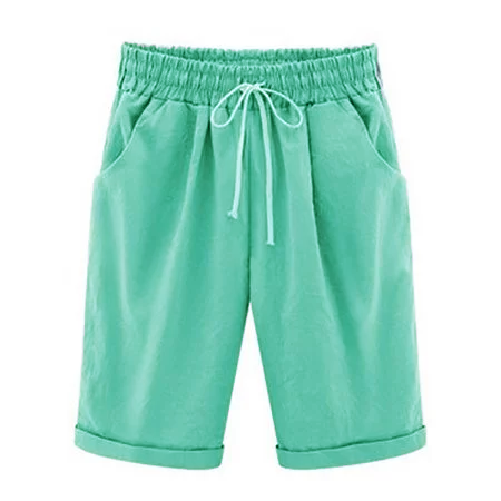 Women S Plus Size Elastic Waist Casual Shorts Cotton Fifth