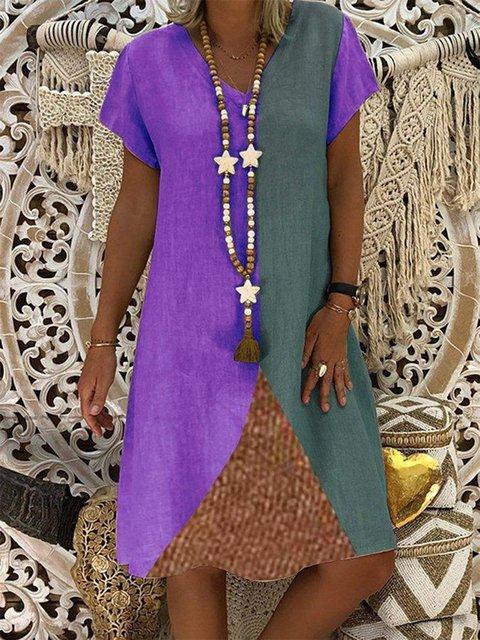 Casual V Neck Patchwork Short Sleeve Dresses