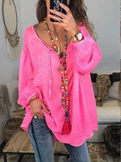 Long Sleeve Casual V Neck Blouse