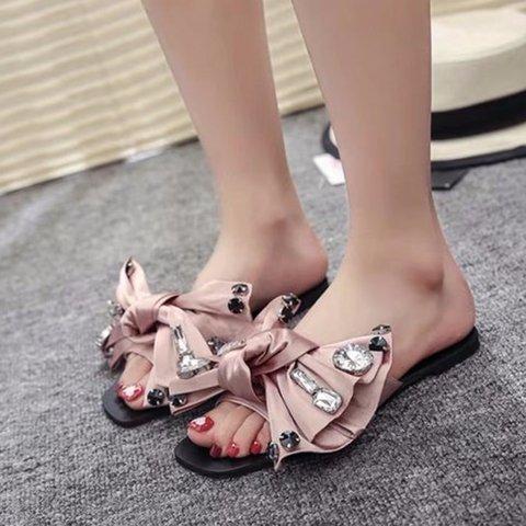 women Elegant Flower Artificial Leather Slippers