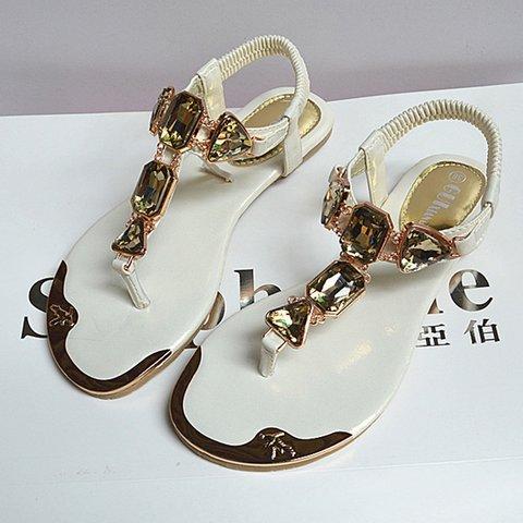ec1c64d65e61 Justfashionnow Sandals Golden Rhinestone Casual Flat Heel Flip-Flops ...