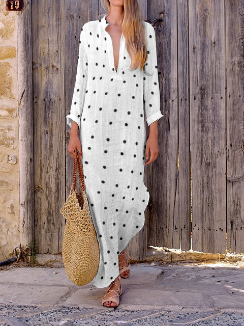 Summer V Neck Side Slit Polka Dots Vintage Dresses
