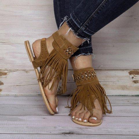 Casual Flat Heel Summer Tassel Sandals