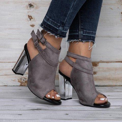 Womens Chunky Heel Summer Artificial Suede Buckle Sandals