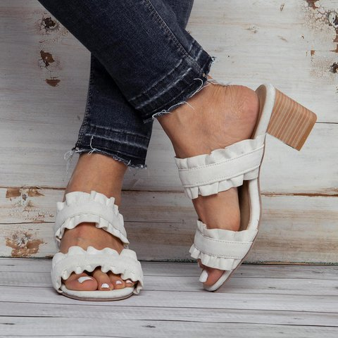 Womens Casual Chunky Heel Daily Pu Sandals