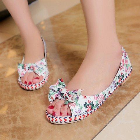 Womens Bowknot Flat Heel Cloth Casual Shoes