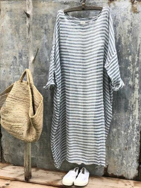 Stripes Plus Size Summer Simple Basic Dresses