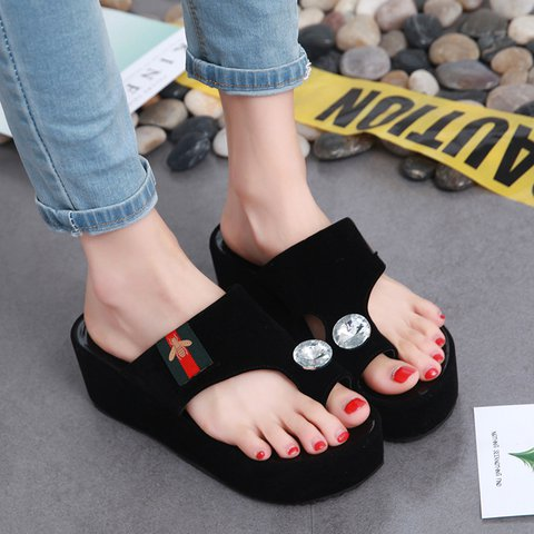 Womens Faux Suede Casual Rhinestone Slippers