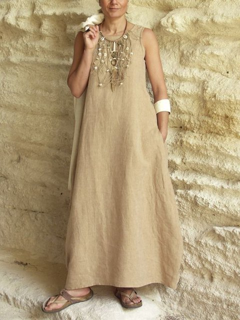 Sleeveless Round Neck Solid Loose Maxi Dress With Pockets